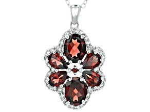 Red Garnet Rhodium Over Sterling Silver Pendant With Chain 4.81ctw