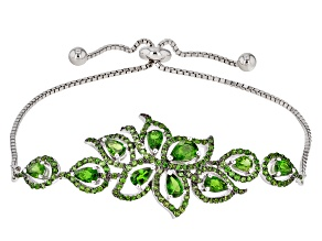 Green Chrome Diopside Sterling Silver Bolo Bracelet 3.45ctw