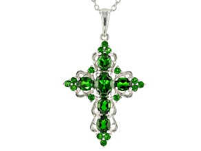 Green Chrome Diopside Sterling Silver Cross Pendant With Chain 2.75ctw