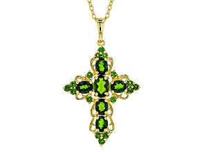 Green Chrome Diopside 18k Gold Over Silver Cross Pendant With Chain 2.84ctw