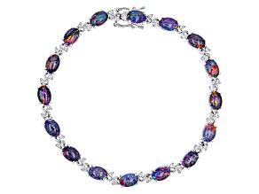 Multicolor Coober Pedy Opal Triplet Sterling Silver Bracelet .70ctw