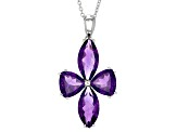 Purple Amethyst Sterling Silver Pendant With Chain 11.90ctw