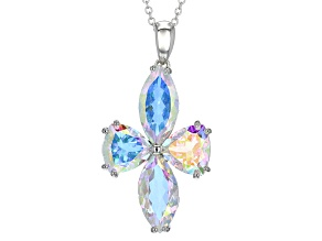 Multi-color Mercury Mist® Mystic Topaz® Silver Pendant With Chain 14.62ctw