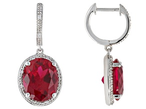 Red Lab Created Ruby Sterling Silver Earrings 7.23ctw