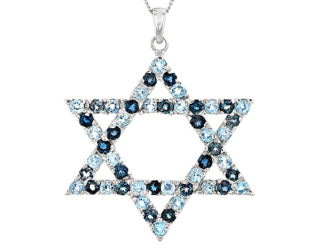 Blue Topaz Sterling Silver Star Of David Pendant With Chain 2.95ctw