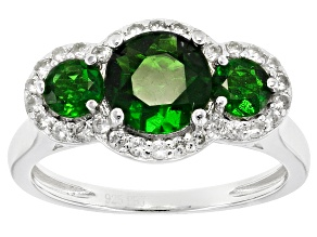 Green Russian Chrome Diopside Sterling Silver Ring 2.30ctw