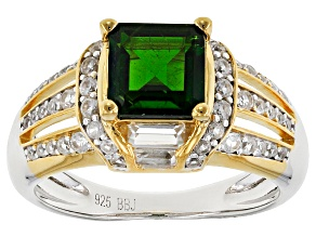 Green Russian Chrome Diopside Two-Tone Sterling Silver Ring 2.45ctw