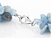 Blue Aquamarine Chip Rhodium Over Sterling Silver Necklace