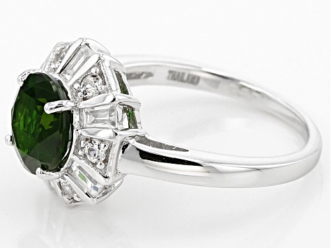 Green Russian Chrome Diopside Sterling Silver Ring 2.70ctw