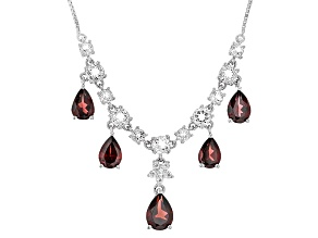 Red Garnet Sterling Silver Necklace 5.83ctw
