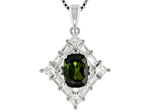 Green Chrome Diopside Sterling Silver Pendant With Chain 2.43ctw