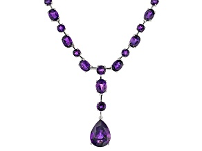 Purple Amethyst Rhodium Over Sterling Silver Y-Necklace 46.85ctw