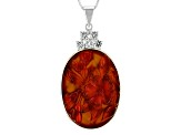 Orange Carved Carnelian Silver Pendant With Chain .70ctw