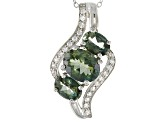 Green Labradorite Rhodium Over Sterling Silver Pendant With Chain 3.18ctw