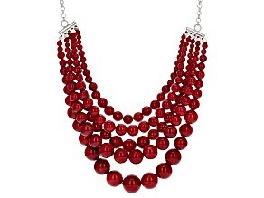 Red Sponge Coral Bead Sterlng Silver Bib Necklace