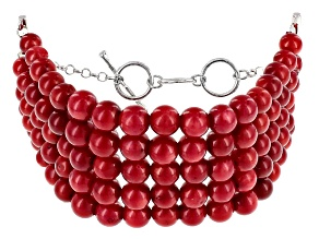 Red Sponge Coral Sterling Silver Adjustable 5-Strand Bracelet