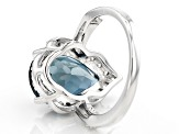 London Blue Topaz Sterling Silver Ring 6.18ctw