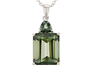 Green Labradorite Sterling Silver Pendant With Chain 6.12ctw