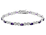 Purple Amethyst Rhodium Over Sterling Silver Station Bracelet 2.69ctw