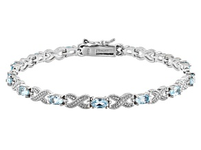 Blue Topaz Rhodium Over Sterling Silver Station Bracelet 3.16ctw