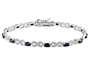 Blue Sapphire Rhodium Over Sterling Silver Station Bracelet 4.05ctw