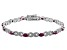 Red Ruby Rhodium Over Sterling Silver Station Bracelet  4.05ctw