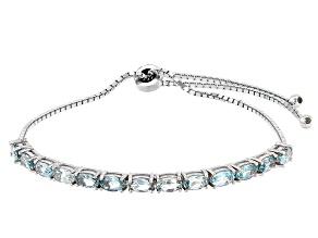 Blue Topaz Rhodium Over Sterling Silver Bracelet. 3.25ctw