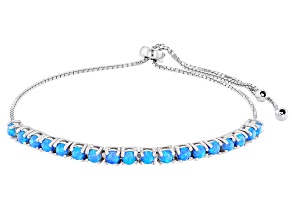 Blue Lab Created Opal Rhodium Over Sterling Silver Bolo Bracelet. 0.90ctw