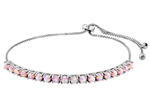 Pink Lab Created Opal Rhodium Over Sterling Silver Bolo Bracelet. 0.90ctw