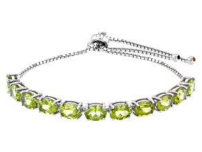Green Peridot Rhodium Over Sterling Silver Bolo Bracelet. 7.15ctw