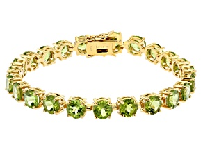 Green Peridot 18K Yellow Gold Over Sterling Silver Bracelet 18.40ctw