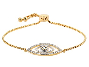 Blue Topaz 18K Yellow Gold Over Bronze Bolo Bracelet. 0.11ctw
