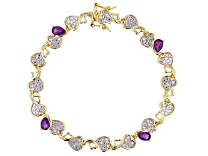 Purple Amethyst and Diamond Accent 18K Yellow Gold Over Bronze Bracelet 1.15ctw