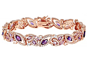 Purple African Amethyst 18K Rose Gold Over Sterling Silver Bracelet. 8.84ctw