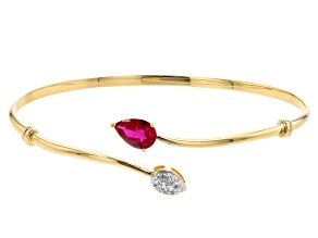 Red Lab Created Ruby 18k Yellow Gold Over Sterling Silver Cuff Bracelet 1.24ctw