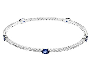 Blue Lab Created Sapphire Rhodium Over Silver Bangle Bracelet 7.49ctw
