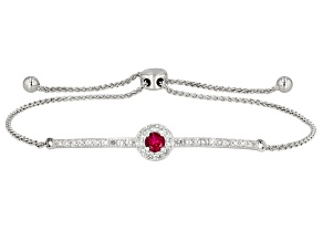 Red Lab Created Ruby Rhodium Over Sterling Silver Bolo Bracelet .66ctw