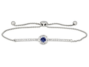 Blue Lab Created Sapphire Rhodium Over Sterling Silver Bolo Bracelet .67ctw