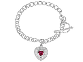 Red Lab Created Ruby Rhodium Over Sterling Silver Bracelet .85ctw