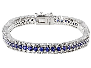 Blue Lab Created Sapphire Rhodium Over Sterling Silver Bracelet 6.09ctw