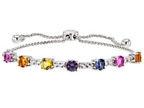 Multi-Color Lab Created Sapphire Rhodium Over Sterling Silver Bolo Bracelet. 2.72ctw