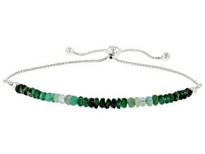 Green Emerald Rhodium Over Sterling Silver Beaded Bolo Bracelet.