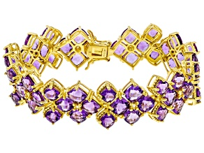 Purple Amethyst 18K Yellow Gold Over Sterling Silver Bracelet 35.20ctw
