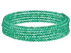 Green Onyx Stainless Steel Beaded Wrap Bracelet.