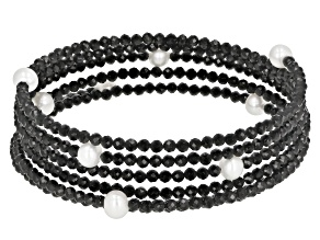 Black Spinel Stainless Steel Beaded Wrap Bracelet.