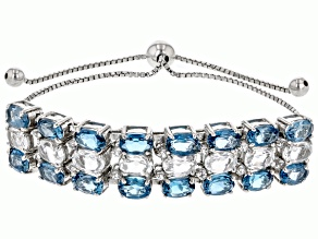 London Blue Topaz Rhodium Over Sterling Silver Bolo Bracelet. 13.00ctw