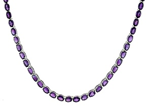 Purple African Amethyst Rhodium Over Sterling Silver Tennis Necklace. 40.00ctw
