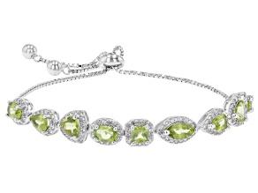 Green Peridot Rhodium Over Sterling Silver Bolo Bracelet. 5.36ctw