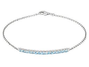 Blue Topaz Rhodium Over Sterling Silver Bracelet 0.65ctw