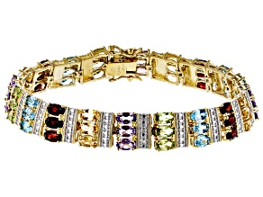 Blue Topaz 18k Yellow Gold Over Silver Two-Tone Bracelet 14.95ctw